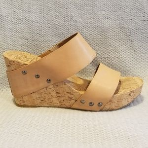 Lucky Brand Leather and Cork Wedges, EC